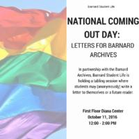 National Coming Out Day Letters, 2016