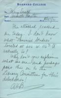 Note from Annette Baxter to Mary Scotti, October 27, 1971, page 1