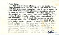 Note from Catharine Stimpson to Jane Gould, 1974, page 2
