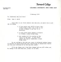 Jane S. Gould letter to conference daycare users, 1973, page 1