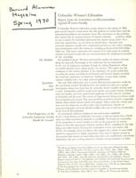 """Columbia Women's Liberation, Report from the Committee on Discrimination Against Women Faculty"" Barnard Alumnae Magazine, Spring 1970"