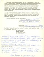 Women's Work and Women's Studies 1971 Questionnaire, Lynne Iglitzin, 1972