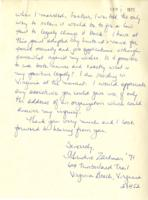 Letter from Christine Zartman to Barnard College, September 1, 1971, page 2