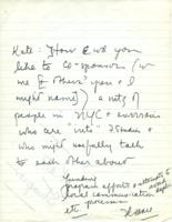 Note from Florence Howe to Catharine Stimpson, 1971