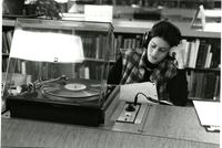 Student listening to record in Wollman, circa 1979