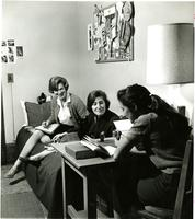 Three students in Brooks Hall dormitory, circa 1963
