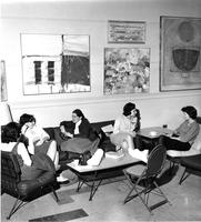 Students Chatting by Art in James Room, 1962