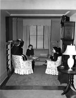 Students in Dorm Room Lounge, circa 1948-1959