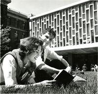 People reading on Lehman Lawn, 1967