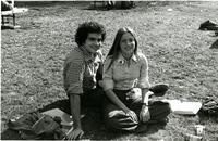People smile for a photo on Lehman Lawn, circa 1970
