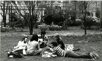 Students play guitar on Lehman Lawn, 1976