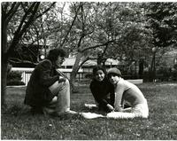Students sit by Magnolia Tree on Lehman Lawn, circa 1970