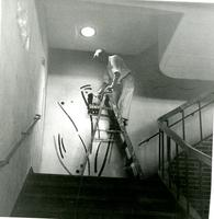 Painting the walls in Lehman Hall, 1958