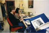 Students Looking Through Materials in Barnard Archives, 2001