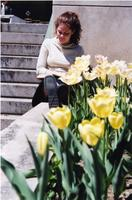Student reading on steps near Lehman Lawn 2003