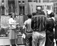 Barnard tour guide at Rockefeller Center, circa 1960