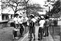 Students Chat near Lehman Library, circa 1980s.