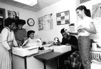Students stuffing envelopes, circa 1980s
