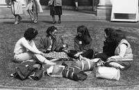 Circle of students on Lehman Lawn, circa 1980s