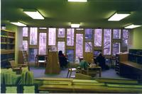 View of Wollman Library windows in Lehman Hall, circa 1990