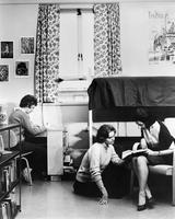Barnard College students in dorm room, circa 1960s