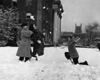 Students in the snow outside Barnard Hall, 1953