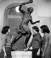 Students with Greek Games statue, 1961