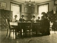 Students studying in Milbank Hall class study, circa 1912