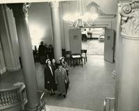 Women in Milbank Hall lobby, circa 1948-1949