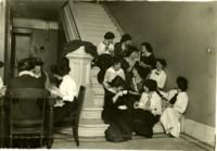 Students having tea on the Fiske Hall steps, 1914