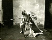 Students with shield and spear performing in Greek Games, 1917