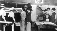 Suffragists mock election booth, circa 1922-1926