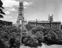 Barnard Jungle with View of Riverside Church and Milbank Hall, 1944
