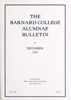The Barnard College Alumnae Bulletin, December 1930