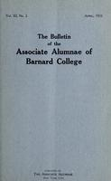 The Bulletin of the Associate Alumnae of Barnard College, April 1922
