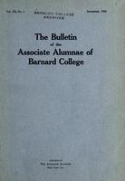 The Bulletin of the Associate Alumnae of Barnard College, December 1922