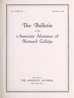 The Bulletin of the Associate Alumnae of Barnard College, December 1928
