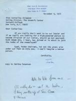 Letter from Iola Haverstick to Catharine Stimpson, November 4, 1971