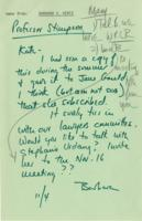 Memo from Barbara Hertz to Catharine Stimpson, November 4, 1971