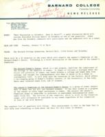 "Barnard College news release, ""Male Chauvinism at Columbia: Does it Exist?"" 1971, page 1"