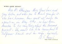 Note from William Harris on behalf of Jane Grant to Catharine Stimpson, 1971