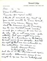 Letter from Basil Rauch to Catharine Stimpson, November 16, 1971, page 1