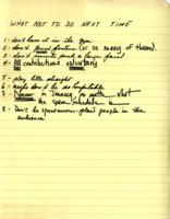 """What Not to Do Next Time"" notes, 1972"