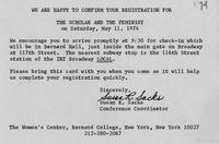 Attendance card from The Scholar and the Feminist conference, 1974, page 1
