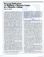 Personal Reflections on Building a Women's Center in a Women's College, 1975, page 1
