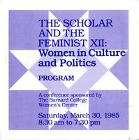 Scholar and Feminist Conference XII program, 1985, page 1