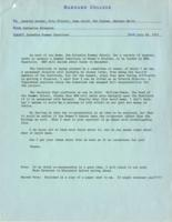 Memo from Catharine Stimpson to Annette Baxter, Elly Elliott, Jane Gould, Patricia Graham, and Barbara Hertz, regarding the Columbia Summer Institute, July 28, 1971, page 1