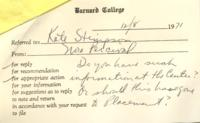 Note from Nora Percival to Catharine Stimpson, December 8, 1971