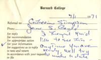 Letter from Jane Gould to Jackie Greenspon, July 1, 1971
