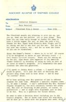 Memo from Nora Percival to Catharine Stimpson, regarding Cleveland trip and Women's Center, September 24, 1971